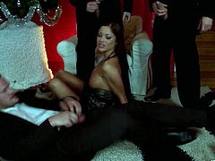 Hit play and watch the hot ass Angelica Heart suckin' on a bunch of fuckin' hard cocks right here in this blowbang scene, bitch!