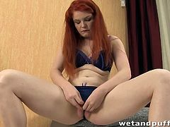 Wet and Puffy brings you a hell of a free porn video where you can see how the alluring redhead slut Barbara Babeurre pumps and dildos her sweet cunt into a massive orgasm.