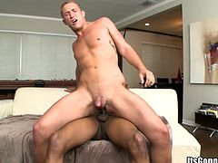 A fuckin' horny fucker sucks on this dude's hard cock and fuckin' gets it shoved balls deep into his tight asshole, check it out right here!