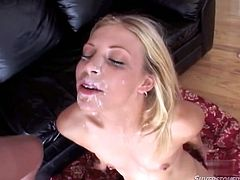Several well endowed studs fuck ruthlessly naughty small tittied blonde. They attack her face and cum on her lisp and eyes. Lustful whore loves every drop of cum.