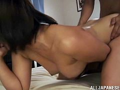 A nasty ass fuckin' whore sucks on a hard cock and fuckin' takes it balls deep into her fuckin' gash, check it out right here!