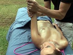 Take a look at this hardcore scene where the sexy Pressley Carter gets an oil massage outdoors before being fucked by her masseuse.