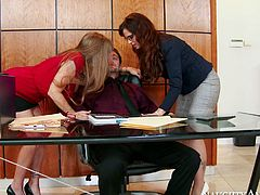 These insatiable office sluts want to fuck their intern silly. But first they want to taste his juicy cock. Check out this awesome sex video and I'm sure you'll like it.