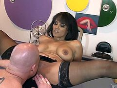 Big breasted torrid filth in black sexy stockings posed on table with her legs spread apart. Her feverish guy set to eat her pussy greedily. Take a look at this hot fuck in Fame Digital porn clip!