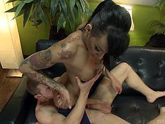 Alex sits on the couch and this amazingly sexy tranny rubs her perfectly round ass in his face. She fully takes off her pants to reveal her nice long cock. Now she's going to stick that cock in his mouth and make him suck her off.