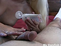 Macy is a handjob goddess. She's a blonde babe with a dominant attitude who talks dirty while stroking cock. She uses lube for her hand to slide better on cock.