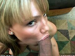 Appetizing and sexy blond head Maya Hills kneels down to give her hunky boyfriend great handjob and blowjob in POV video.