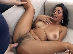 Persia Monir gets her hairy cunt licked first. Then this experienced woman gives a blowjob expertly and gets banged on a sofa.