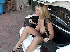 Blonde Bimbo Likes Stripping Next To The Car And Showing Off Her Goods