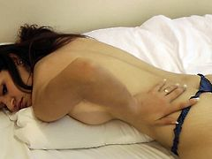 Cute Indian girl slowly removes her panties and starts masturbating on cam in a very sensual way