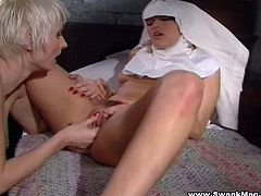 A fuckin' couple of nuns decide to get freaky in the lesbian department right here in this amazing chick on chick scene right here!