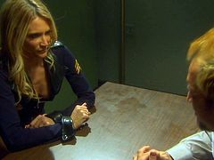 Dirty blonde police officer rides prisone's dick