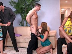 Crissy Moon, Lizz Tayler and Gigi Rivera are having a great time with three horny men. The cuties show their cock-sucking skills to the studs and le
