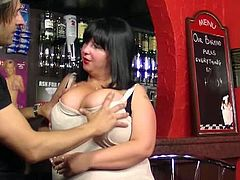 Busty Work brings you a hell fo a free porn video where you can see how a busty BBW barmaid gets her cunt banged deep and hard into a breathtakingly hot orgasm.