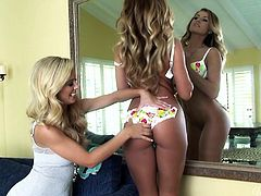 Awesome cunnilingus by the light haired booty babe to her sexy blond haired busty friend. Have a look at these chicks in When Girls Play xxx clip.