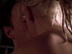Super horny blonde babe with big boobs moans with pure joy taking it up her wet pussy missionary style. Babe gets poked on her side from behind and cums multiple times.