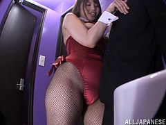 Naughty Rion Noshikawa pleases some gentleman in a VIP night club. She drops to her knees and gives blowjob & titjob combo.