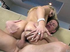 Stunning blonde babe gets her butt rammed hard doggy style