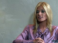 Frantic blonde MILF in lingerie Klarisa Leone gives nice blowjob