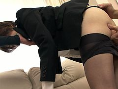 Dark haired Japanese bitch in black jacket sat on sofa with her legs spread apart and enjoyed getting her wet hairy pussy fingerfucked hard by those insatiable studs. Look at that dirty FMM fuck in Jav HD sex clip!
