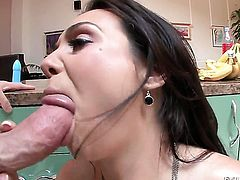Holly West milking love stick with her hot mouth