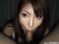 Check this Japanese slut, with natural breasts and a nice ass, while she serves a tasty blowjob in a POV video and gets jizz all over her pie hole.