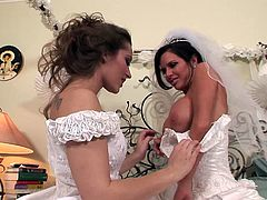 Dani Daniels and Veronica Avluv are two hot babes in wedding dresses. They kiss and also lick each others yummy pussies lying on a king size bed.