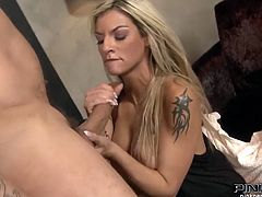 Jaw dropping blonde lady Klarisa Leone gets cunnilungus and then gives great deepthroat blowjob to her lover. After sensual doggyfuck Klarisa gets drilled missionary style.