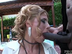 This slut likes the tastes of this cocks and offers the guy to have fun in the house. While she was giving a head to the black guy white man fucked her doggystyle. Have a look at this slut in Pinko HD xxx clip.