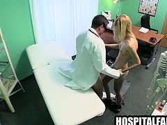 Blonde sucks cock and gets fucked hard by her doctor