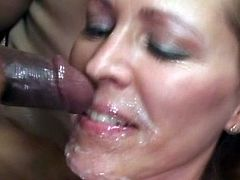 After such wonderful interracial encounter, busty cougar would really enjoys a strong splash of jizz on her face