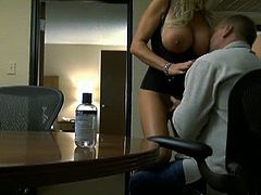 Busty blonde MILF is getting ready to blow big meaty cock to save her job. Watch as she gets on her knees to suck this big cock in the pov style to swallow it all.