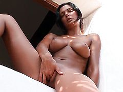 Adria with huge melons and clean bush toys her snatch