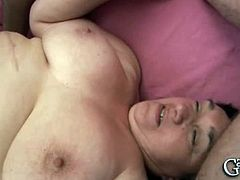 Chubby granny is in the middle of a hardcore threeway sex with two horny dudes. Watch as they start to nail her fat cunt and mouth to make her scream loud.