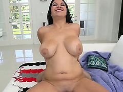 Heavy chested black haired sexy beauty Missy Martinez with great oral skills and big round bums gives head to hubby in pint of view and rides on his cock to loud orgasm.