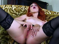 Prepare your cock for this redhead babe, with big boobs wearing nylon stockings, while she touches herself in a hot solo model video.
