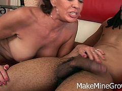 Vanessa Videl screams like crazy when this black man inserts his monster cock deep inside her vagina. She's a hot milf with huge boobs who enjoys the creampie she gets.