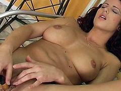 Those fine tits are perfectly shaking while dashing beauty starts masturbating her tight vag in solo