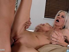 Sexy milf Emma Starr wakes up her daughter's boyfriend for breakfast in the bedroom. But that meaning for breakfast is her pink pussy craving for his hard shaft.