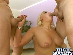 The nasty whore enjoys a good gangbang and this one is definitely her cup of tea. She enjoys slurping on dicks and getting her twat torn apart.