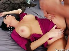 Johnny Castle seduces Oriental with gigantic tits and smooth muff into fucking
