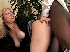 Wanton Caucasian babe Adrianna Nicoleis happy to give blowjob to her black coworker. Then bitch pulls her panties aside taking that BBC up her wet quim doggystyle.