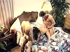 Group sex with horny and kinky blondie in her bedroom