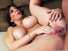 Busty dark haired bitch gets missionary fucked hard by the hunk