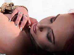 Brunette Mandy Bright with big jugs is on the edge of nirvana after lesbian sex with Angelina Blue