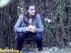 There is a place where girls usually stop for taking a piss. This perverted voyeur has discovered it and it filmed three gals pissing without them seeing him.