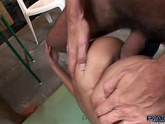 Horny and amazing light haired bitch with awesome body and nice ass gets her dripping pussy and tight asshole drilled hard at the same time. Have a look at this bitch in Pinko HD xxx clip.