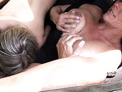 Debi Diamond has fire in her eyes as she gets her love hole eaten by lesbian Nicole Ray