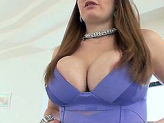 Gorgeous creamy skinned beauty Allison Moore is showing off her amazing body and her enormous boobs and having a man lick her ass at the same time for her own satisfaction.