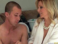 Brazzers Network bring you a hell of a free porn video where you can see how the busty blonde milf Julia Ann gets banged very hard into an amazing orgasm by Jessy Jones.